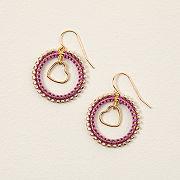 Macrame Silk Heart Earrings