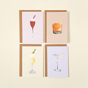 Cocktail Recipe Greeting Cards - Set Of 4
