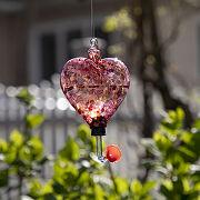Glass Heart Hummingbird Feeder