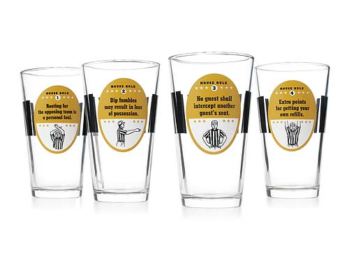 HOUSE RULES FOOTBALL GLASSES - SET OF 4
