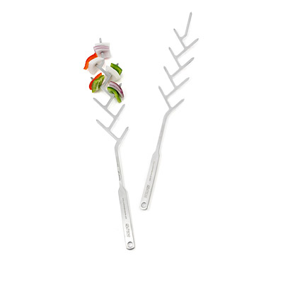 STAINLESS STEEL BRANCH SKEWERS - SET OF 2