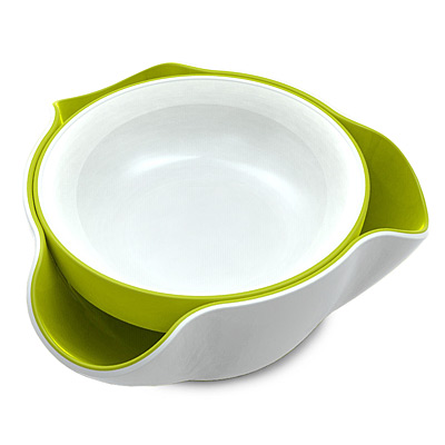 WHITE & GREEN DOUBLE DIP BOWLS