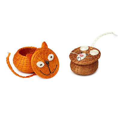 HAND-WOVEN CAT AND MOUSE BASKETS