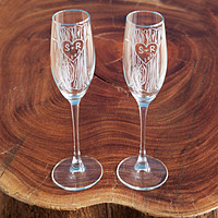 Etched Champagne Flutes - Set of 2