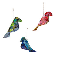 Recycled Bird Ornaments - Set of 3