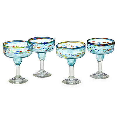 RECYCLED VERANO MARGARITA GLASSES - SET OF 4