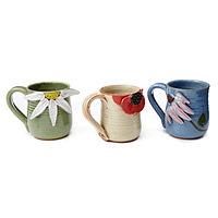 STONEWARE FLOWER MUGS