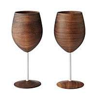 WOODEN WINE GLASSES - SET OF 2