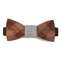 Etched Walnut Wooden Bow Tie