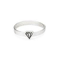 Sterling Silver Diamond Stacking Ring