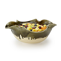 OLIVE SWIRL RUFFLE SERVING BOWL