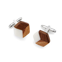 Salvaged Furniture Wood Isometric Cufflinks