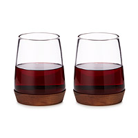 Wooden Base Wine Glasses - Set of 2