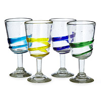 Recycled Swirl Sangria Glasses - Set of 4