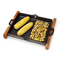 Cast Iron Grill with Wood Trivet