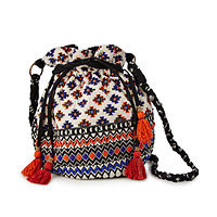 Beaded Crossbody Drawstring Bag