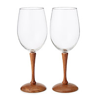 Wood Stem Wine Glasses - Set of 2