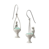Sterling and Gemstone Bird Bath Earrings